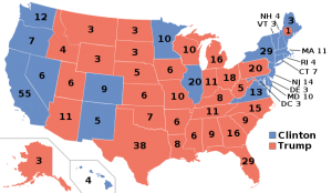 The results of the 2016 Presidential election. Donald Trump is represented in red, Hillary Clinton in blue. (Image is Wikipedia's, not mine.)
